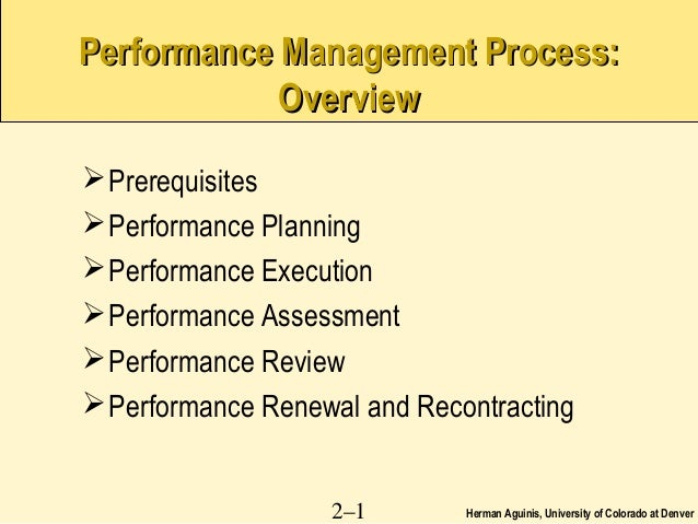 Herman Aguinis, University of Colorado at Denver2–1Performance Management Process:Performance Management Process:OverviewO...