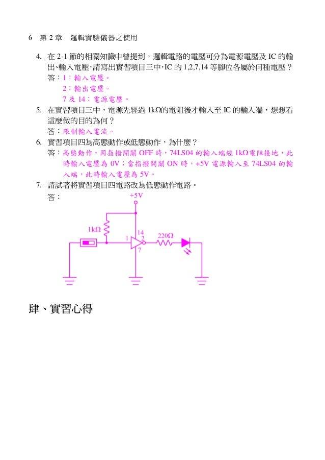 6 第 2 章 邏輯實驗儀器之使用 4. 在 2-1 節的相關知識中曾提到,邏輯電路的電壓可分為電源電壓及 IC 的輸 出、輸入電壓,請寫出實習項目三中,IC 的 1,2,7,14 等腳位各屬於何種電壓? 答:1:輸入電壓。 2:輸出電壓。 7...