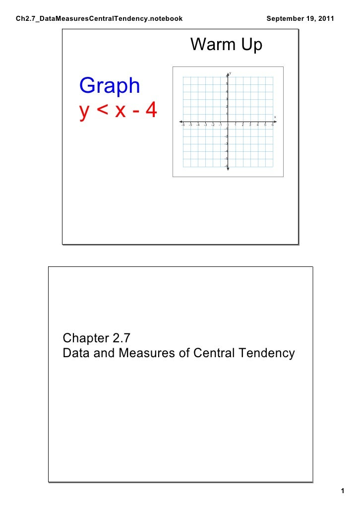 Ch2.7_DataMeasuresCentralTendency.notebook                                                           September19,2011   ...