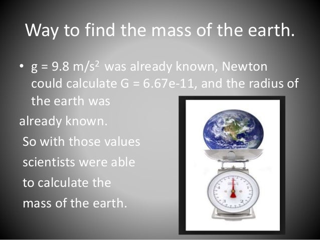Find the mass of Mars:  • g = 3.5 m/s2 on the surface.  • radius of Mars = 3390 km or 3390e3 m  G = 6.67e-11  3.5 = 6.67e-...