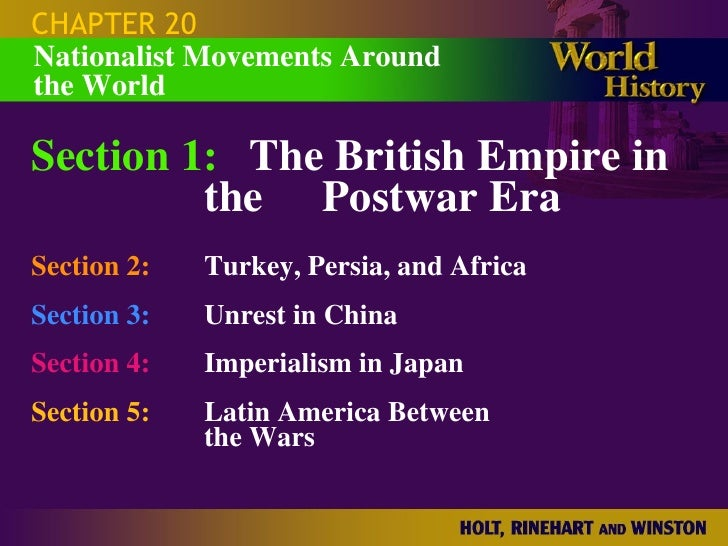 CHAPTER 20 Section 1: The British Empire in  the Postwar Era Section 2: Turkey, Persia, and Africa Section 3: Unrest in Ch...