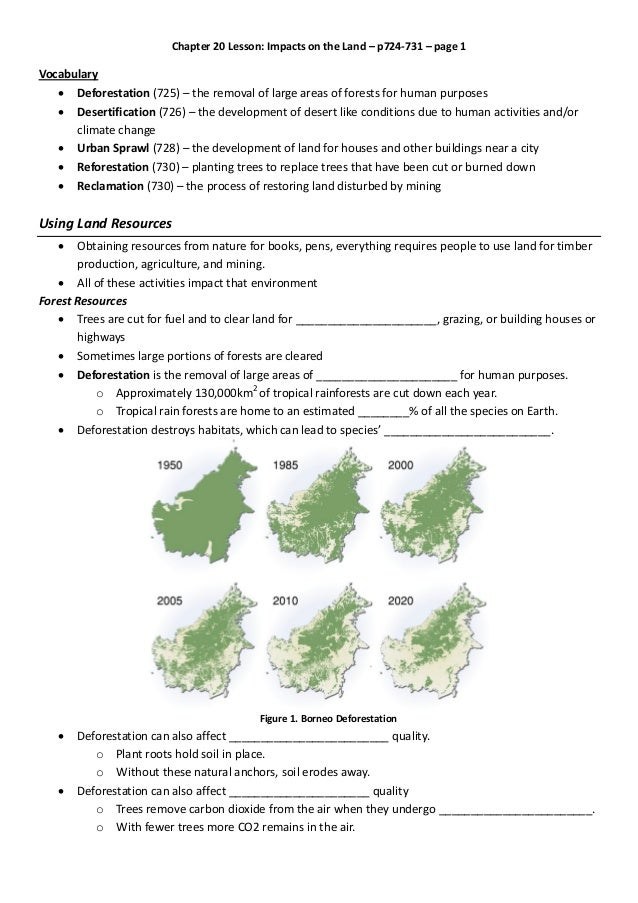 Chapter 20 Lesson: Impacts on the Land – p724-731 – page 1 Vocabulary  Deforestation (725) – the removal of large areas o...