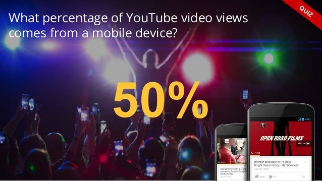 What percentage of YouTube video views comes from a mobile device? QUIZ 50%