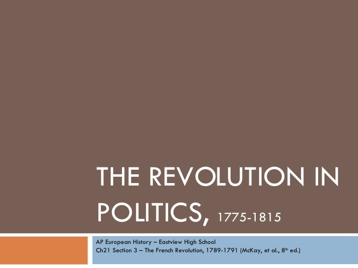 THE REVOLUTION IN POLITICS,  1775-1815 AP European History – Eastview High School Ch21 Section 3 – The French Revolution, ...