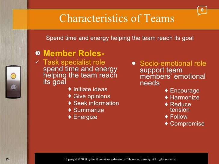 task specialist and socio emotional role of a team member Each team role has it's strengths and weaknesses, and each has equal importance  they provide specialist knowledge and skills  but what happens when you can .