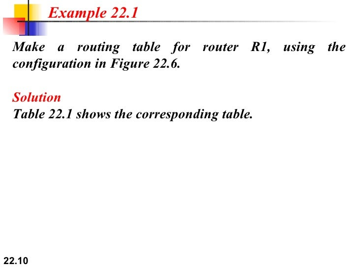 Ch22 note 10 make a routing table for router greentooth