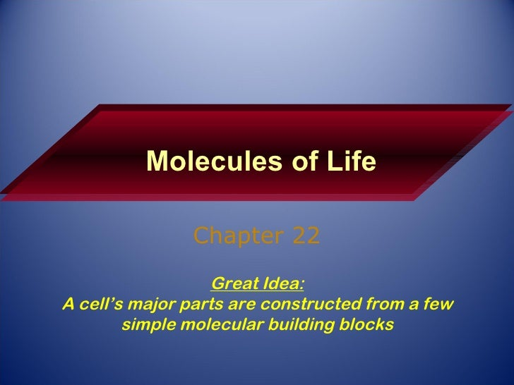 Molecules of Life Chapter 22 Great Idea: A cell's major parts are constructed from a few simple molecular building blocks