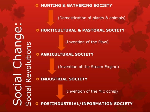  HUNTING & GATHERING SOCIETY                                          (Domestication of plants & animals)Social Change:  ...