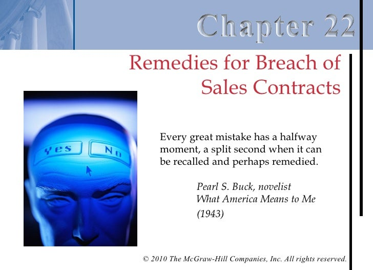 Chapter 22 – Remedies For Breach Of Sales Contracts