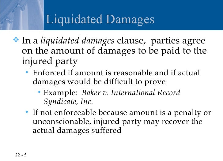 Liquidating damages clause example