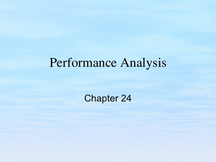 Performance Analysis Chapter 24