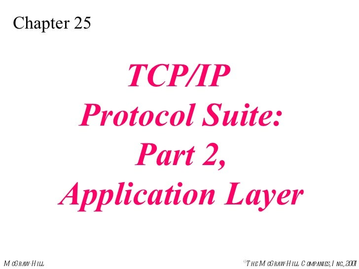 Chapter 25 TCP/IP  Protocol Suite: Part 2,  Application Layer