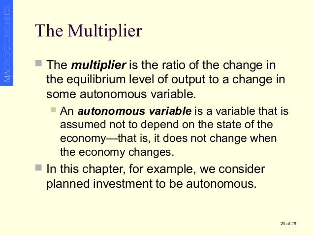 autonomous spending multiplier Short & simple 16 - the expenditure multiplier and income determination posted on 16 august 2017 by peterc we have seen that total spending equals total income because the change in income was twice the change in autonomous spending the multiplier k can be calculated as.