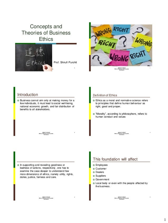 Concepts and Theories of Business Ethics  Prof. Shirufi Purohit SHIRUFI PUROHIT Ethics in Business and Corporate Governanc...