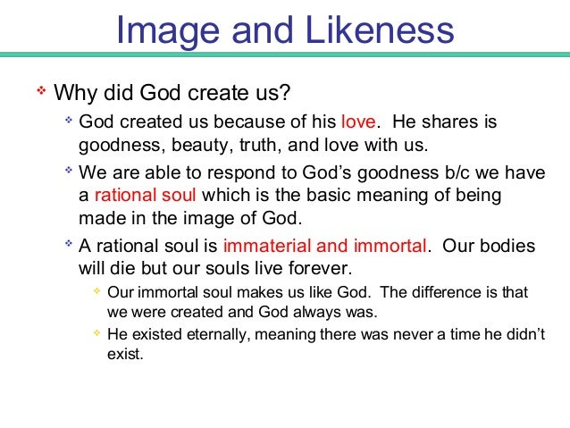 Image and Likeness  The Human Soul is also rational – meaning it has spiritual powers of intellect and will. Intellect en...