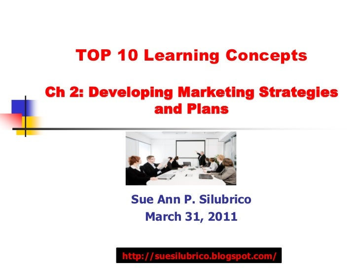 TOP 10 Learning ConceptsCh 2: Developing Marketing Strategies              and Plans          Sue Ann P. Silubrico        ...