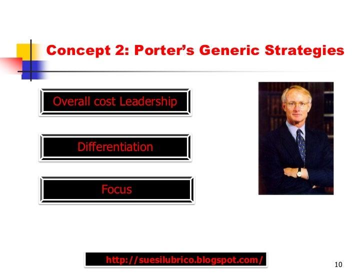 Concept 2: Porter's Generic StrategiesOverall cost Leadership    Differentiation        Focus         http://suesilubrico....