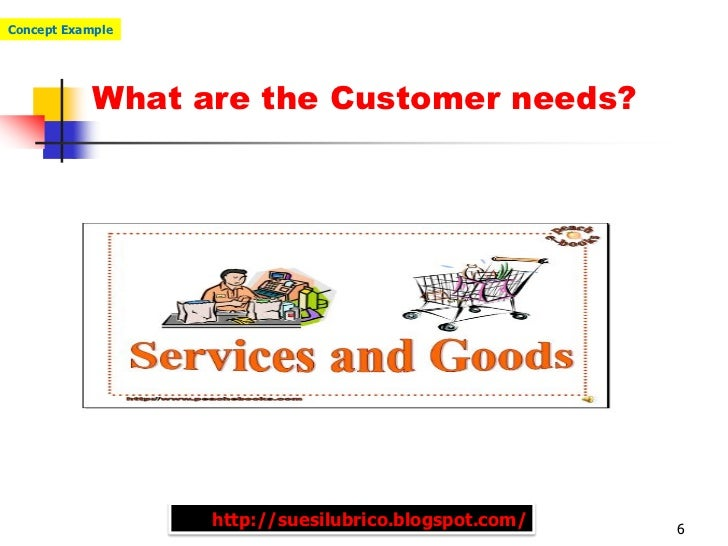 Concept Example            What are the Customer needs?                  http://suesilubrico.blogspot.com/   6