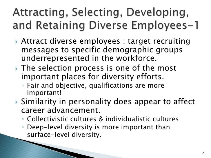 surface level diversity Organizational diversity is regarded positively, but haphazardly embraced the absence of a cultural mandate at work (one which includes an emphasis on managing differences) can result in minority assimilation, and in either unintended bullying or in intentional abuse.