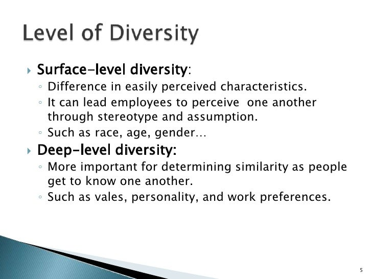 surface levl diversity and deep level As time passes, increasing collaboration weakens the effects of surface-level (demographic) diversity on team outcomes but strengthens those of deep-level (psychological) diversity.