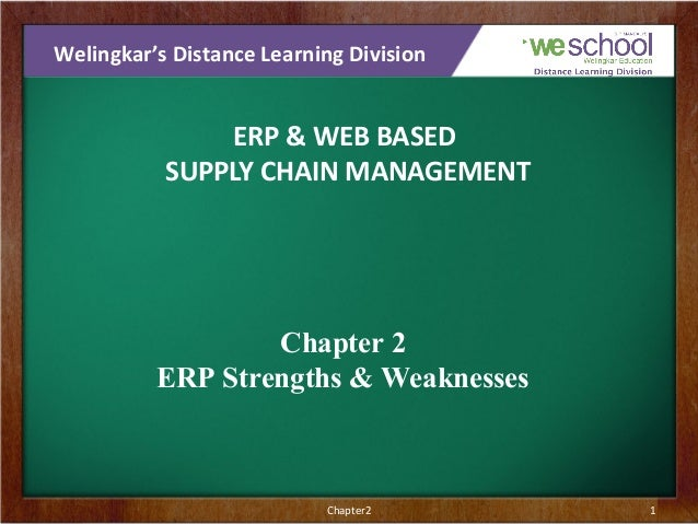 Welingkar's Distance Learning Division  ERP & WEB BASED SUPPLY CHAIN MANAGEMENT  Chapter 2 ERP Strengths & Weaknesses  Cha...