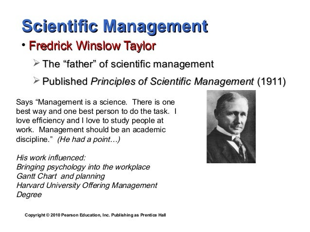 a biography of fredrick taylor the father of scientific management Frederick w taylor the father of scientific management, managers should follow four scientific management principles.