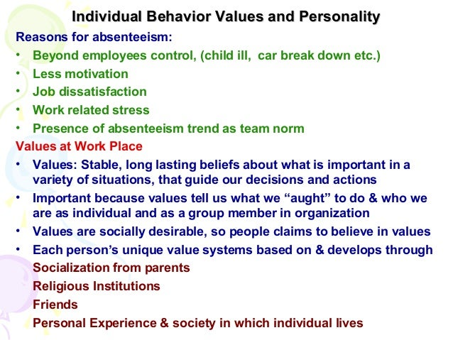individual values behavior and personality Personality, values,  an individual who values  this implies that values and personality may interact in predicting behavior although personality and values.