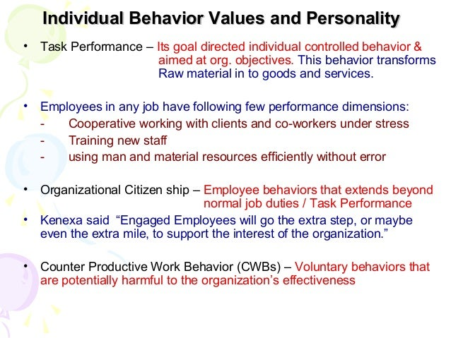 individual values behavior and personality While character and personality are both used to describe someone's behaviors, the two examine very different aspects of that individual that's because personality is more visible and easier to spot, while character is revealed through time, with varying situations.