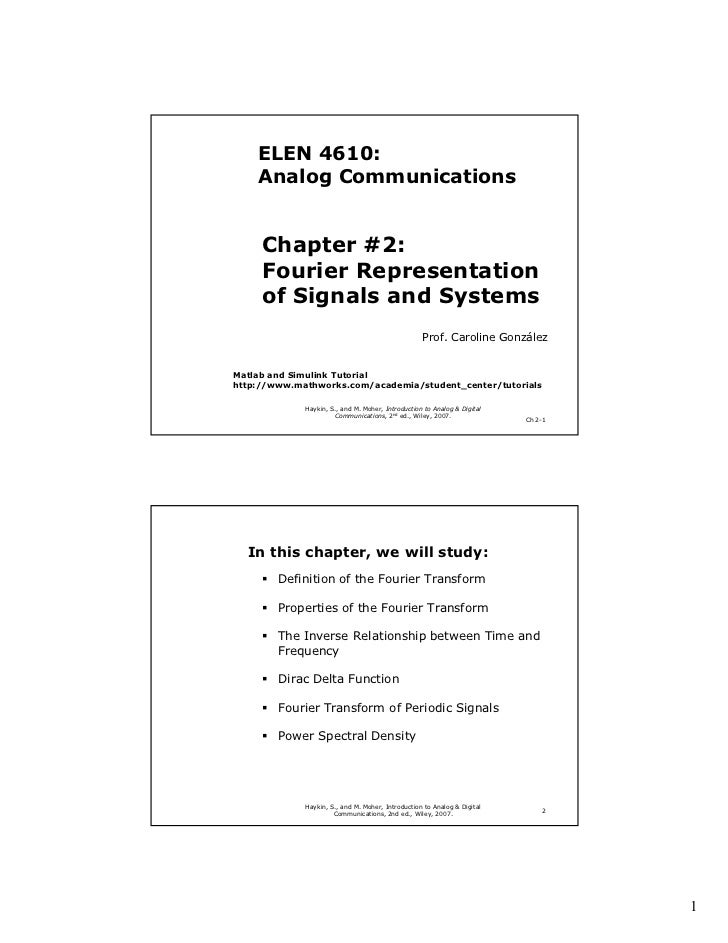 ELEN 4610:    Analog Communications     Chapter #2:     Fourier Representation     of Signals and Systems                 ...