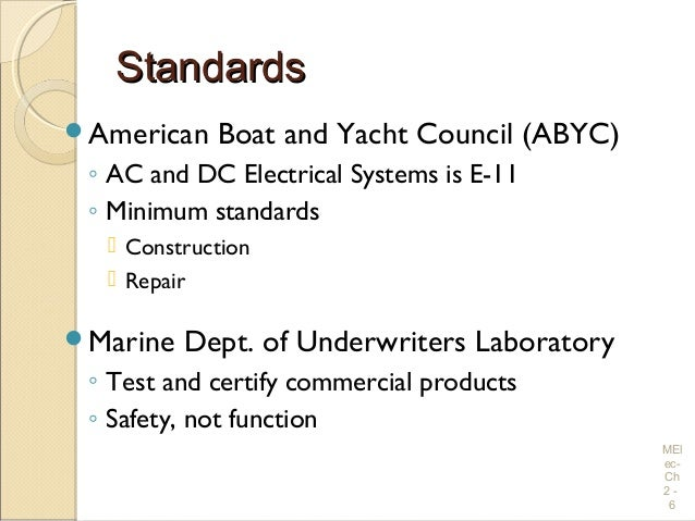 electrical wiring practices and diagrams rh slideshare net ABYC Wiring 10% Drop ABYC Color Code