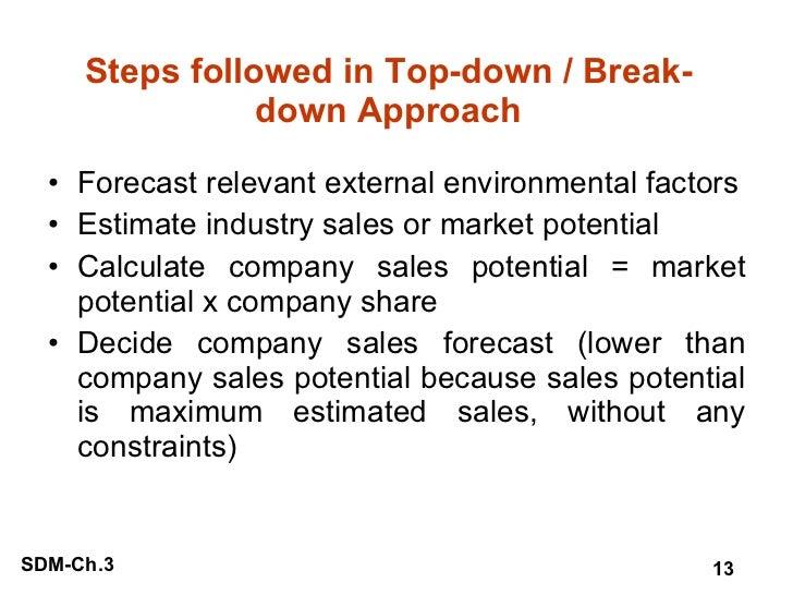 Steps followed in Top-down / Break-down Approach <ul><li>Forecast relevant external environmental factors </li></ul><ul><l...
