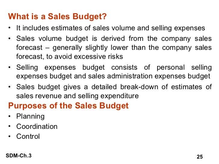 <ul><li>What is a Sales Budget? </li></ul><ul><li>It includes estimates of sales volume and selling expenses </li></ul><ul...