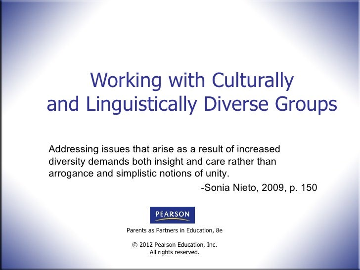 Working with Culturally and Linguistically Diverse Groups Addressing issues that arise as a result of increased diversity ...