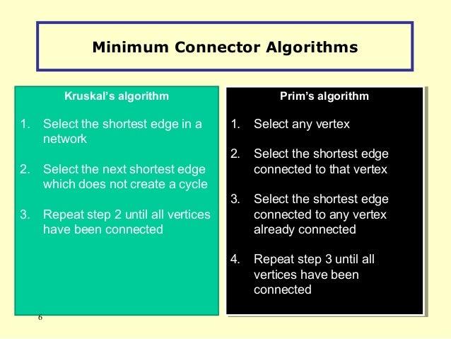 Minimum Connector Algorithms Kruskal's algorithm 1. Select the shortest edge in a network 2. Select the next shortest edge...