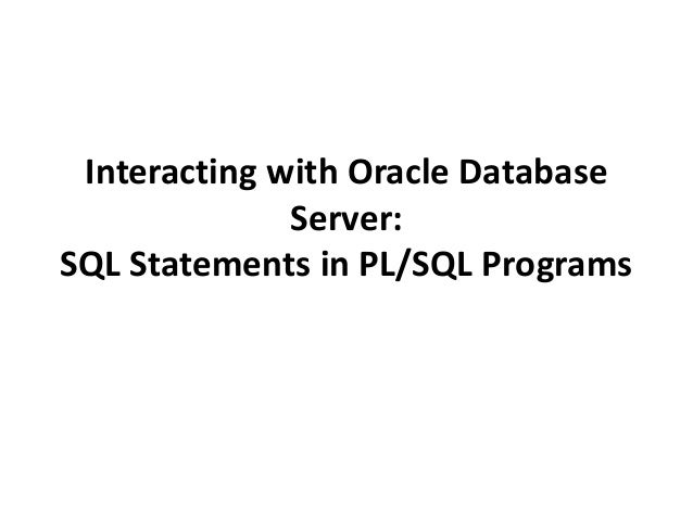 Interacting with Oracle Database