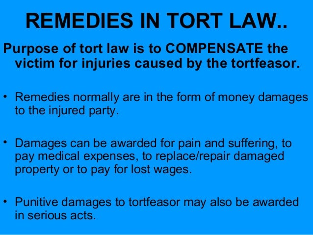 damage in tort law An uslegal topic area in contract and tort law, courts award damages to a plaintiff to compensate the civil wrong committed to him/her by the defendant.