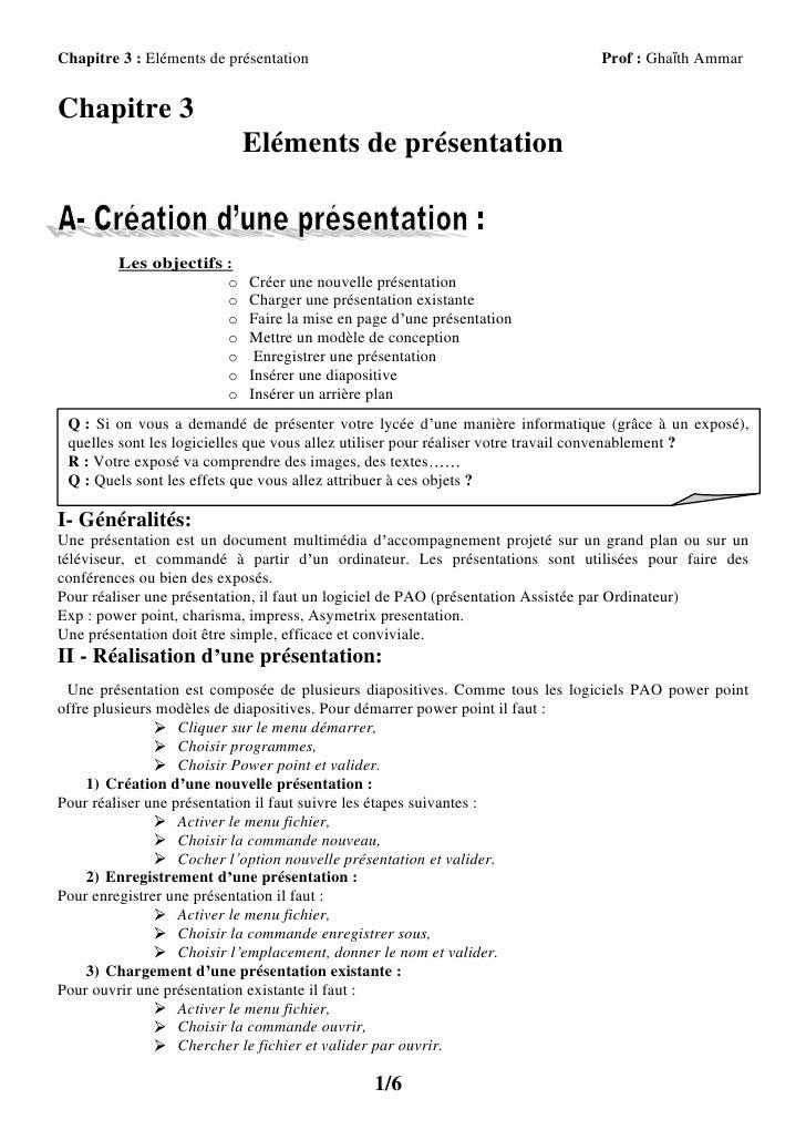 Chapitre 3 : Eléments de présentation                                        Prof : Ghaïth AmmarChapitre 3                ...
