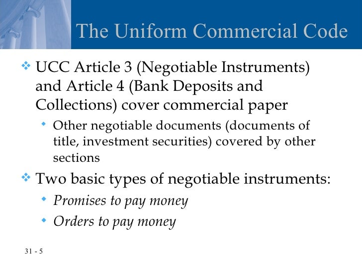 negotiable instruments article review