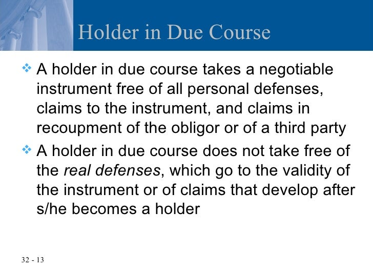 what is holder in due course