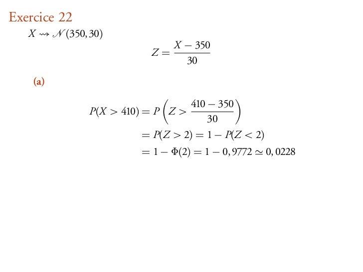 Exercice 22   X      (350, 30)                               X − 350                          Z=                          ...