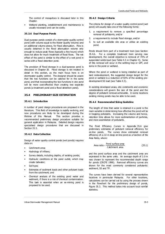 Ch 35 ponds and wetlands for Design criteria of pond