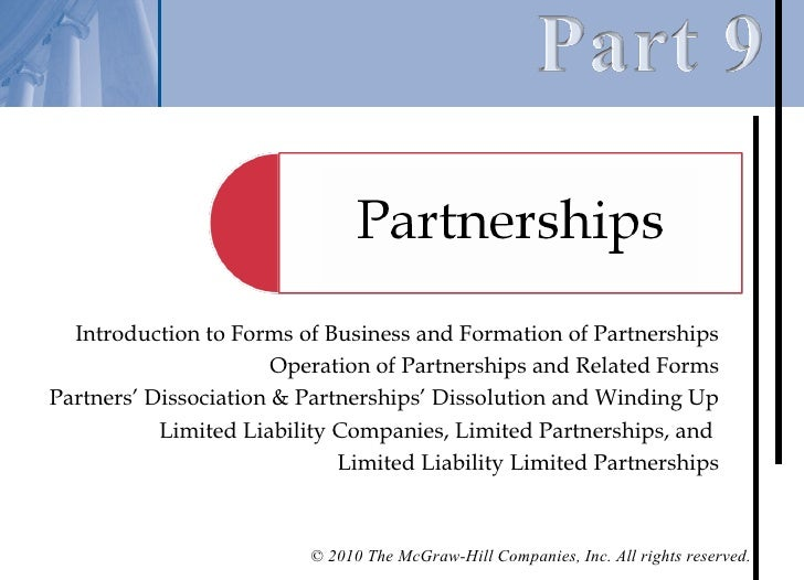 Introduction to Forms of Business and Formation of Partnerships                       Operation of Partnerships and Relate...