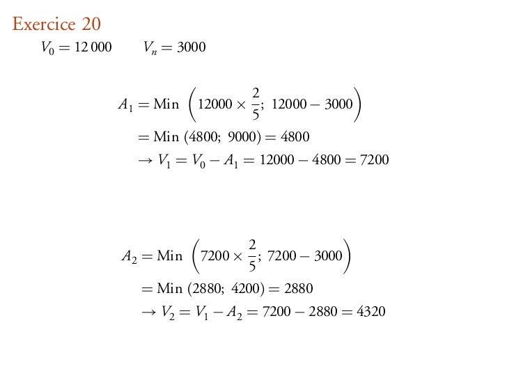 Exercice 20   V0 = 12 000      Vn = 3000                                   2                 A1 = Min  12000 × ; 12000 − 3...