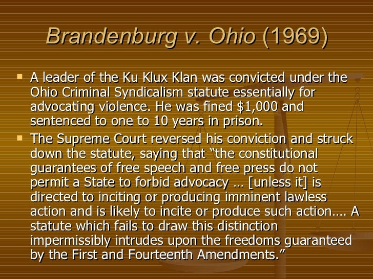 supreme court case brandenburg v ohio State v brandenburg - 2016-ohio-4918  the ohio supreme court then released state v  the trial court also discussed facts of the case, specific to brandenburg.