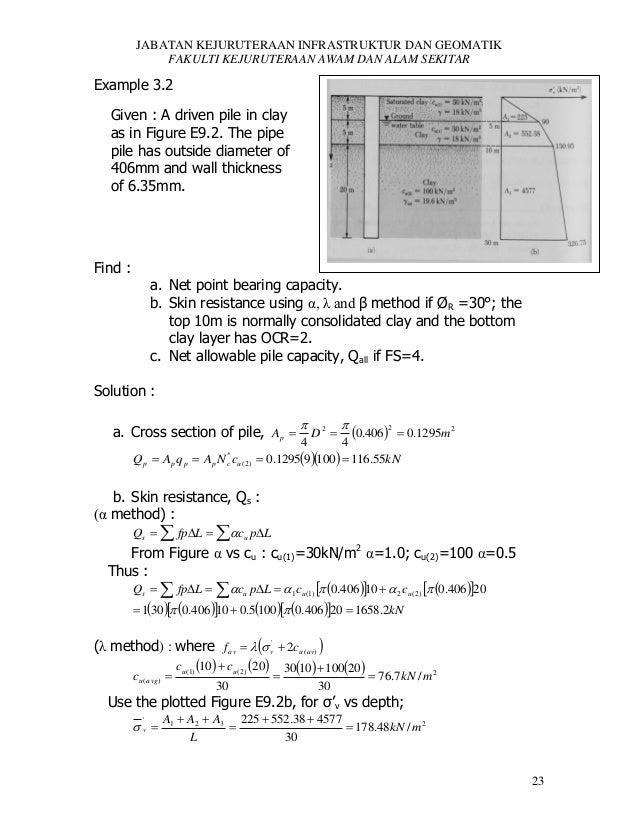 JABATAN KEJURUTERAAN INFRASTRUKTUR DAN GEOMATIK FAKULTI KEJURUTERAAN AWAM DAN ALAM SEKITAR  Example 3.2 Given : A driven p...