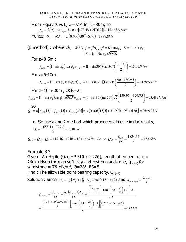 JABATAN KEJURUTERAAN INFRASTRUKTUR DAN GEOMATIK FAKULTI KEJURUTERAAN AWAM DAN ALAM SEKITAR  From Figure λ vs L; λ=0.14 for...