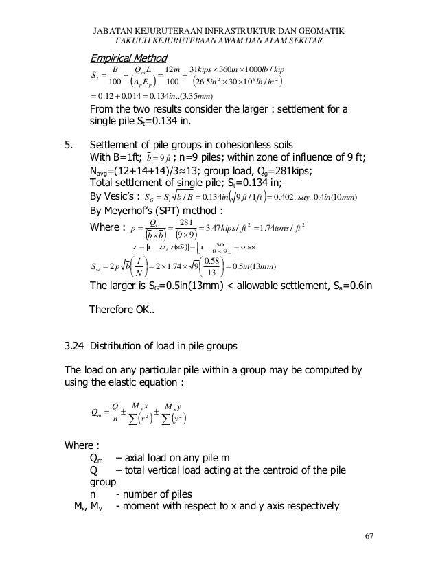 JABATAN KEJURUTERAAN INFRASTRUKTUR DAN GEOMATIK FAKULTI KEJURUTERAAN AWAM DAN ALAM SEKITAR  Empirical Method St   Q L B 1...