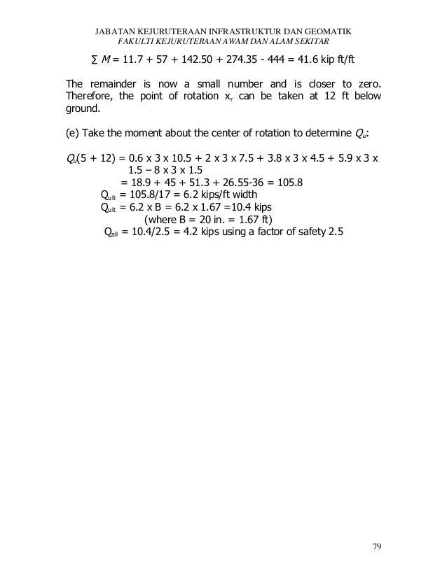 JABATAN KEJURUTERAAN INFRASTRUKTUR DAN GEOMATIK FAKULTI KEJURUTERAAN AWAM DAN ALAM SEKITAR  ∑ M = 11.7 + 57 + 142.50 + 274...