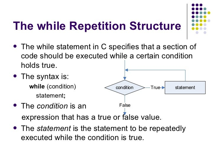 repetition structure Repetitive control structures are loops like the do while loop and the for loops they repeat and execute the same set of instruction until the.