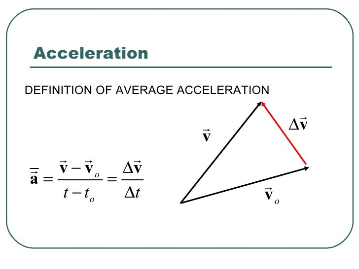 the definition of acceleration Just to add to a previous answer, acceleration is a change in velocity over a specific period of time but velocity is not the same as speed it involves speed and direction.